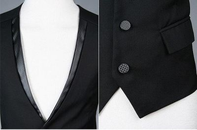 Men's Waistcoat for Three Piece Suit Sleeveless with Adjustable Back Buckle