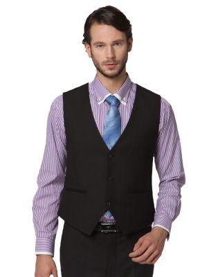 3 piece Dress Suit for men Blazer Waistcoat Pants Slim Fit - Black