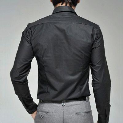 Men's Long Sleeve Dress Shirt simple white black 100% cotton