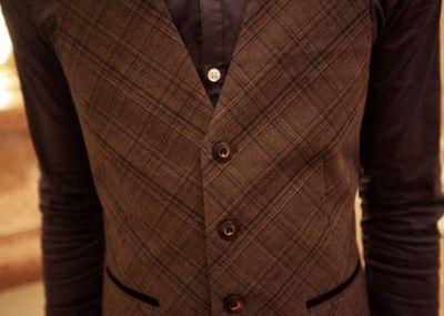 Brown Diagonal Plaid Waistcoat jacket for men