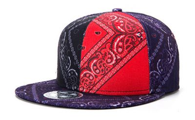 Flat Brim Snapback Cap with Red Black Bandana Print