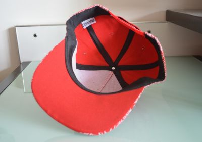 All Over Paisley Print Baseball Snapback Cap - Red White Black