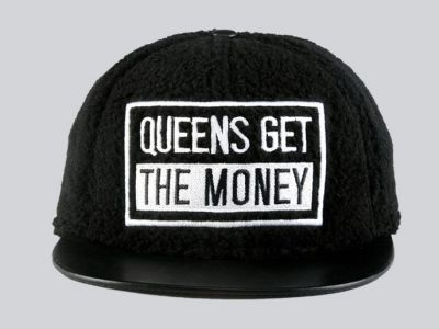 Fleece Snapback Baseball Cap Queens Got the Money Black White