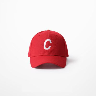 Red baseball cap with white embroidered C