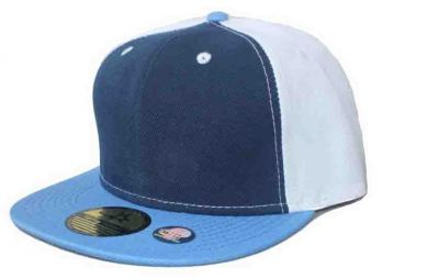 Plain Snapback Cap with Tricolor Design Yellow Blue Black