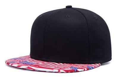 Black Snapback Cap with USA Flags Stars and Stripes Flat Brim