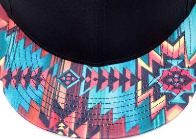 Snapback Baseball Cap with Red Blue Yellow Tribal Print Brim