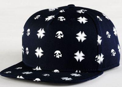 Iron Cross and Skull Pattern Print Snapback Cap Black White