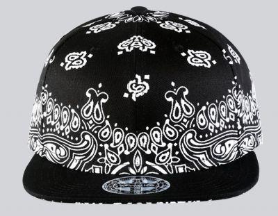 Bandana Print Plain Black White Snapback Baseball Cap