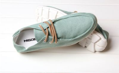 Canvas summer shoes for Men with Laces and Boat front design