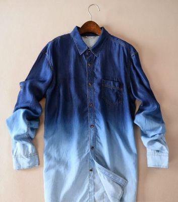 Denim Jeans Shirt for Men Dip and Dye Bicolor Design - Long Sleeves