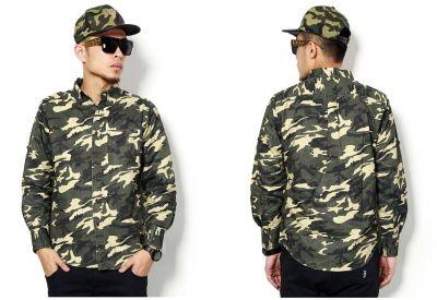 Camo Long Sleeve Denim Shirt for Men Army Camouflage Print