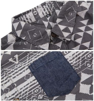Men's Denim Chambray Shirt with Triangular Pattern Print - Long Sleeves