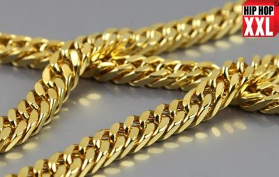 Gold Plated Bling Bling Chain with 11 MM Thick Links Hip Hop Necklace