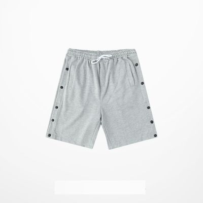 Cotton basketball shorts with side pressure buttons clips