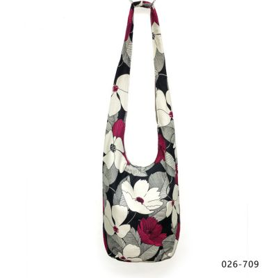 Cotton bucket bag with print for women