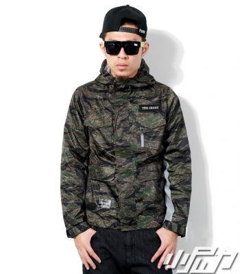 Men's Windsheeter Jacket with Half Green Military Camouflage Print