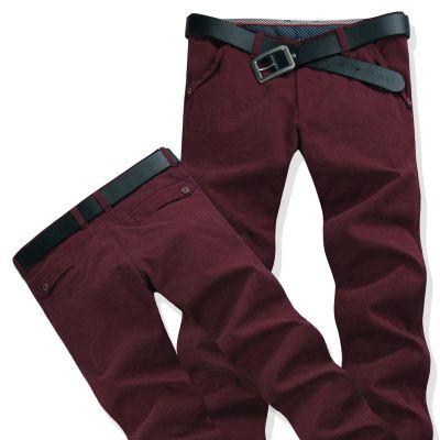 Straight cut Burgundy Red Denim Jeans pants for men