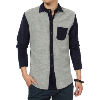 Fashion Shirt for men with Velvet Corduroy Sleeves Bicolor