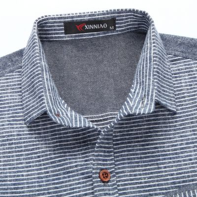 Chambray Denim Coton Shirt Men with Two Tone Sleeves