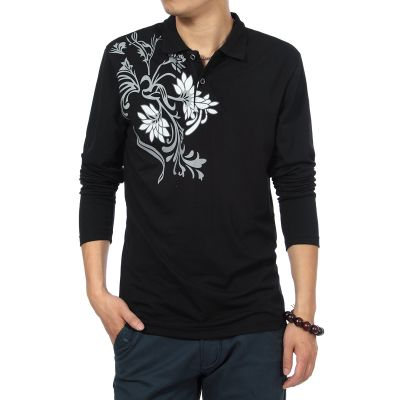 Long sleeve polo shirt with Flower Pattern on shoulder