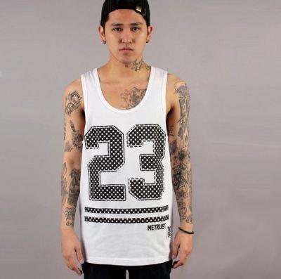 Sports Tanktop Basketball Jersey #23 T shirt - White and Black