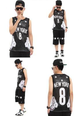 New York #8 Tanktop for Men Flower Print on the Side Basketball Jersey