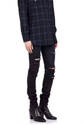 Destroyed Slim Jeans for Men with Ripped Holes