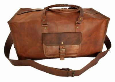 Vintage leather duffle bag sports style Square 18 inches