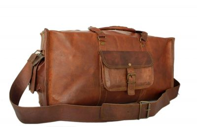 Vintage leather duffle bag sports style Square 20 inches