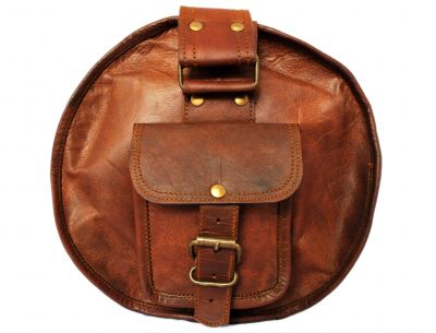 Vintage leather duffle bag sports style Round 20 inches