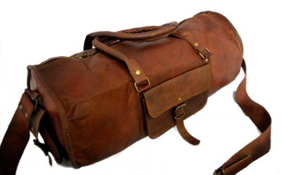 Vintage leather duffle bag sports style Round 22 inches