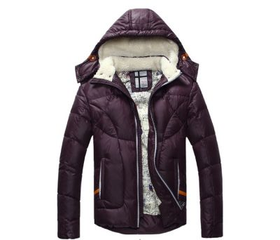 Short Padded Winter Down Jacket for Men with Wool Lined Collar and Hood