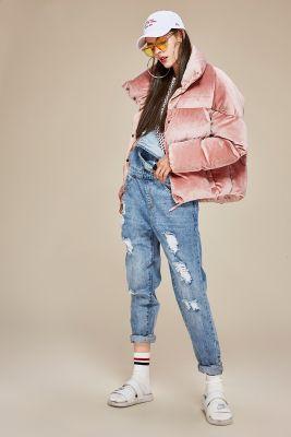 Winter women's velvet satin down jacket