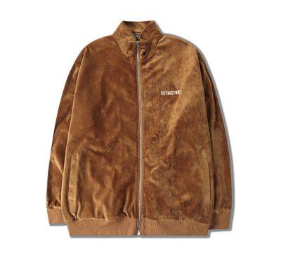 Velours tracksuit jogging jacket and pants set for men with vintage trim