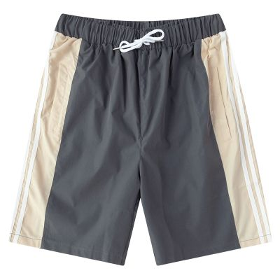 Fabric shorts for men summer bermuda with side stripes