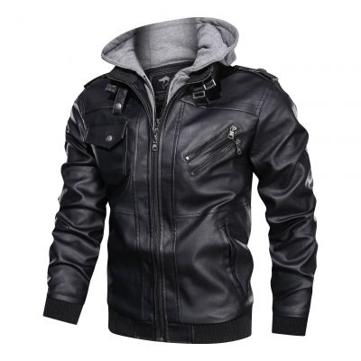 Faux leather biker hooded jacket in black for men