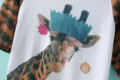 Giraffe Party T shirt for Women White with Animal Print Sleeves