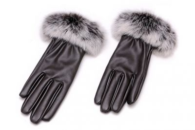 Women's leather gloves lined with real rabbit fur