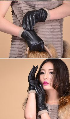 Leather gloves for women with acrylic sleeve extension