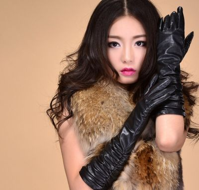 Long soft leather gloves for women elbow length