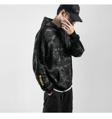 Hoodie for men camo print in grey