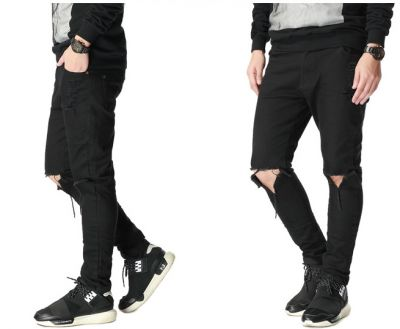 Slim Fit Jeans for Men with Ripped Hole in Knees - Black