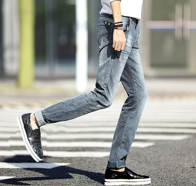 Slim jeans for men blue-gray with details scratches