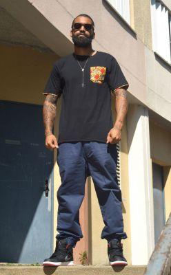 J.Wax Black T-shirt with Red Brown Dutch Wax Fabric Pocket