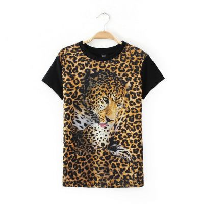 Leopard Print 3D T Shirt for Women Black Sleeves