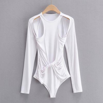 Long sleeve slim fit bodysuit for women