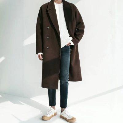 Longline wool mix winter overcoat for men