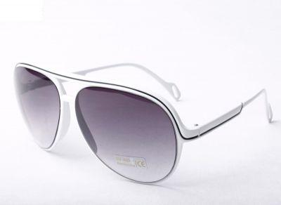 Retro Aviator style sunglasses for Men Women with Thin White Stripe