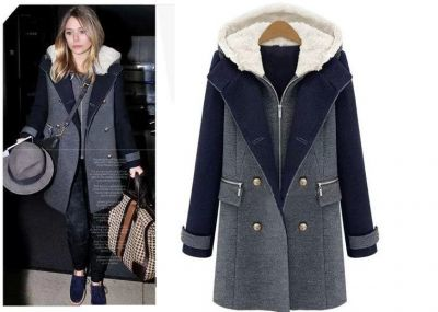 2 Piece Winter Coat for Women with Hood and Double Breast Buttons